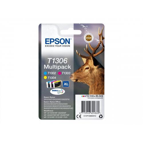 Epson T1306 Multipack - 3-pack - 30.3 ml - XL - yellow, cyan, magenta - original - ink cartridge - for Stylus Office BX630, BX635, BX935; WorkForce WF-3010, 3520, 3530, 3540, 7015, 7515, 7525