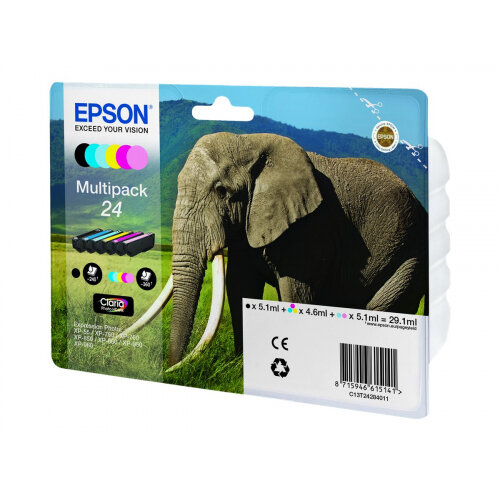 Epson 24 Multipack - 6-pack - 29.1 ml - black, yellow, cyan, magenta, light magenta, light cyan - original - blister - ink cartridge - for Expression Photo XP-55, XP-750, XP-760, XP-850, XP-860, XP-950, XP-960