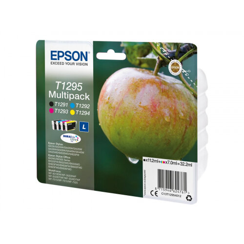 Epson T1295 Multipack - 4-pack - 32.2 ml - L size - black, yellow, cyan, magenta - original - ink cartridge - for Stylus SX230, SX235, SX430, SX438; WorkForce WF-3010, 3520, 3530, 3540, 7015, 7515, 7525