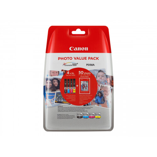 Canon CLI-551XL C/M/Y/BK Photo Value Pack - 4-pack - 11 ml - black, yellow, cyan, magenta - original - blister - ink tank - for PIXMA iP8750, iX6850, MG5550, MG5650, MG5655, MG6450, MG6650, MG7150, MG7550, MX725, MX925