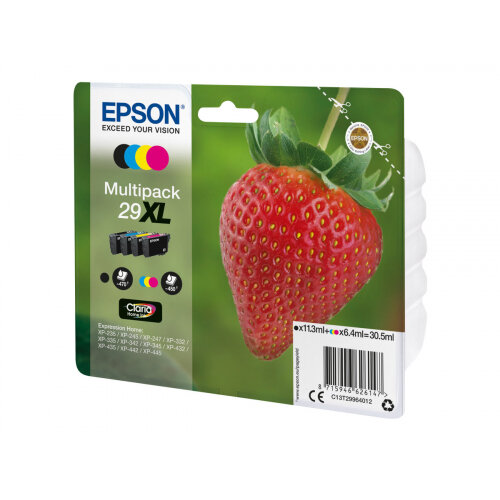 Epson 29XL Multipack - 4-pack - XL - black, yellow, cyan, magenta - original - blister - ink cartridge - for Expression Home XP-235, 245, 247, 332, 335, 342, 345, 432, 435, 442, 445, 455