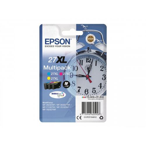 Epson 27XL Multipack - 3-pack - 31.2 ml - XL - yellow, cyan, magenta - original - ink cartridge - for WorkForce WF-3620, WF-3640, WF-7110, WF-7210, WF-7610, WF-7620, WF-7710, WF-7715, WF-7720