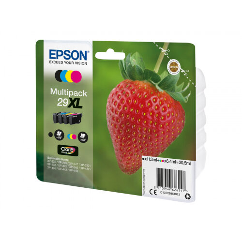 Epson 29XL Multipack - 4-pack - 30.5 ml - XL - black, yellow, cyan, magenta - original - blister with RF/acoustic alarm - ink cartridge - for Expression Home XP-235, 245, 247, 332, 335, 342, 345, 432, 435, 442, 445, 455
