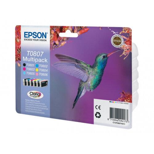 Epson T0807 Multipack - Black, yellow, cyan, magenta, light magenta, light cyan - original - blister with RF/acoustic alarm - ink cartridge - for Stylus Photo P50, PX650, PX660, PX700, PX710, PX720, PX730, PX800, PX810, PX820, PX830