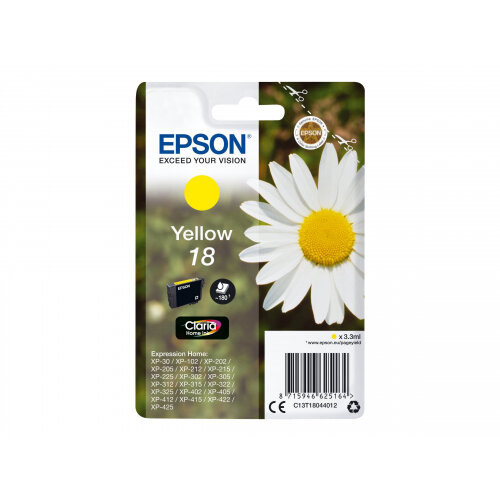 Epson 18 - 3.3 ml - yellow - original - ink cartridge - for Expression Home XP-212, 215, 225, 312, 315, 322, 325, 412, 415, 422, 425