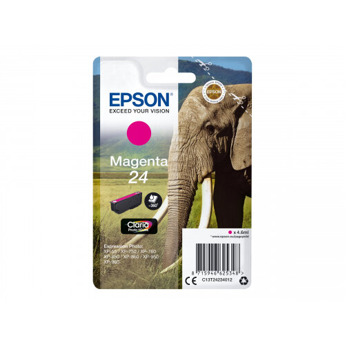 Epson 24 - 4.6 ml - magenta - original - ink cartridge - for Expression Photo XP-55, 750, 760, 850, 860, 950, 960; Expression Premium XP-750, 850