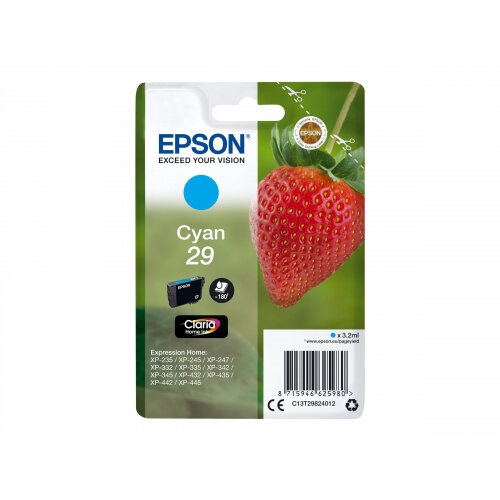 Epson 29 (C13T29824012) - 3.2 ml - cyan - original - blister - ink cartridge - for Expression Home XP-235, 245, 247, 332, 335, 342, 345, 432, 435, 442, 445, 455