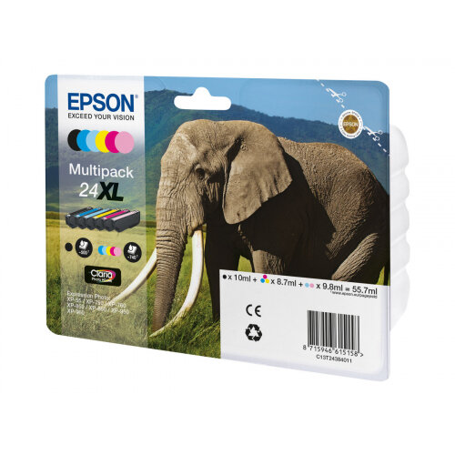 Epson 24XL Multipack - 6-pack - XL - black, yellow, cyan, magenta, light magenta, light cyan - original - ink cartridge - for Expression Photo XP-55, XP-750, XP-760, XP-850, XP-860, XP-950, XP-960