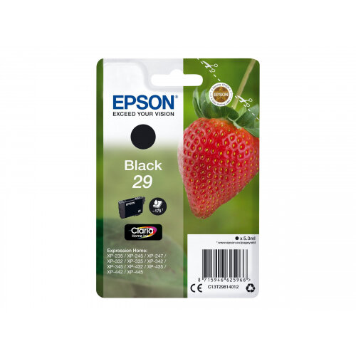Epson 29 - 5.3 ml - black - original - blister - ink cartridge - for Expression Home XP-235, 245, 247, 332, 335, 342, 345, 432, 435, 442, 445, 455