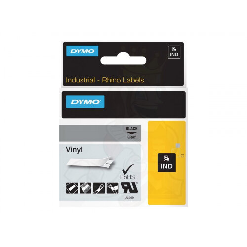 DYMO Rhino Coloured Vinyl - Vinyl - permanent adhesive - black on grey - Roll (1.2 cm x 5.5 m) 1 roll(s) tape - for DYMO ILP219; Rhino 1000, 4200, 5000, 5200, 6000; RhinoPRO 1000, 3000, 5000, 6000, 6500