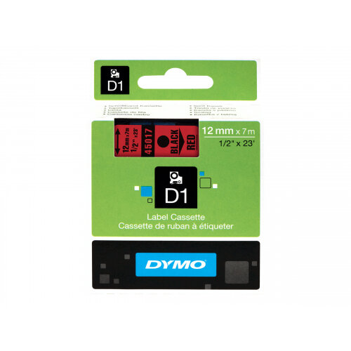 DYMO D1 - Removable adhesive - black on red - Roll (1.2 cm x 7 m) 1 roll(s) labels - for LabelMANAGER 120P, 210D, 220P, 350D, 450D; LabelPOINT 250, 350