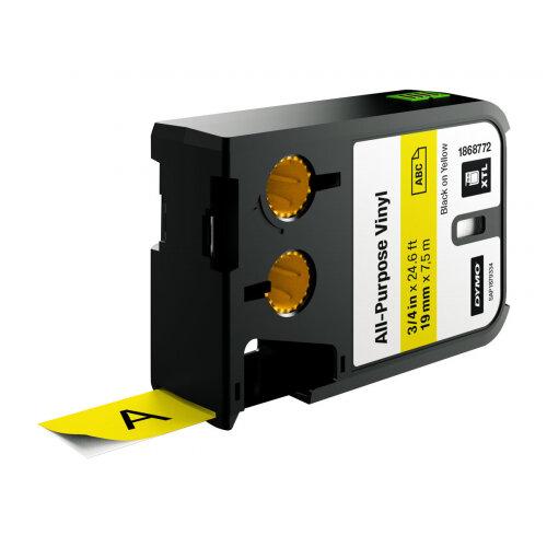 DYMO XTL All-Purpose - Vinyl - permanent adhesive - black on yellow - Roll (1.9cm x 7m) 1 roll(s) tape