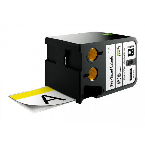 DYMO XTL Pre-Sized Safety - Vinyl - black on yellow &white - 51 x 102 mm 70 label(s) (1 roll(s) x 70) labels - for XTL 500
