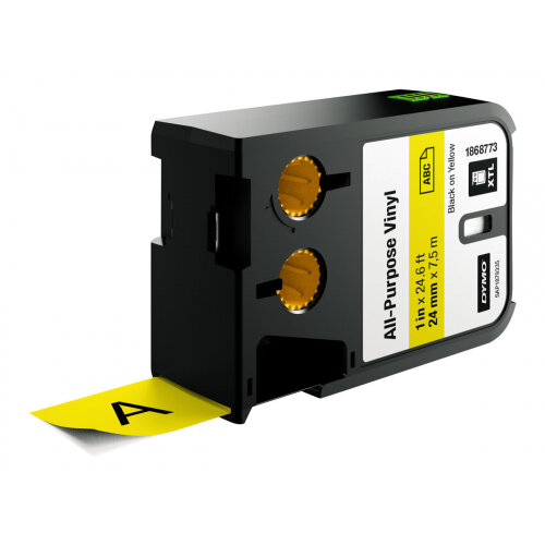 DYMO XTL All-Purpose - Vinyl - permanent adhesive - black on yellow - Roll (2.4 cm x 7 m) 1 roll(s) tape