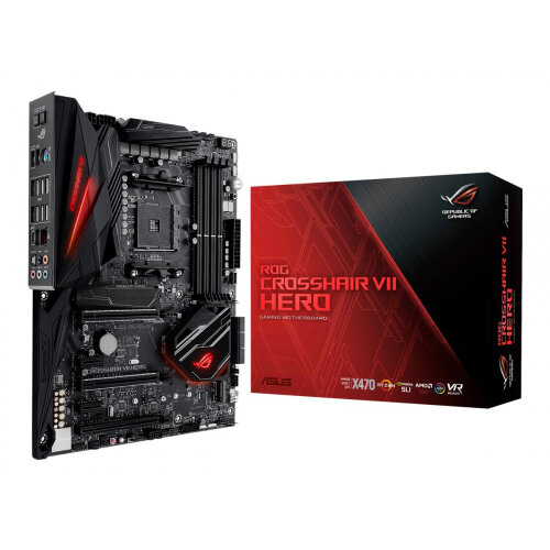 ASUS ROG CROSSHAIR VII HERO - Motherboard - ATX - Socket AM4 - AMD X470 - USB 3.1 Gen 1, USB-C Gen2, USB 3.1 Gen 2 - Gigabit LAN - HD Audio (8-channel)