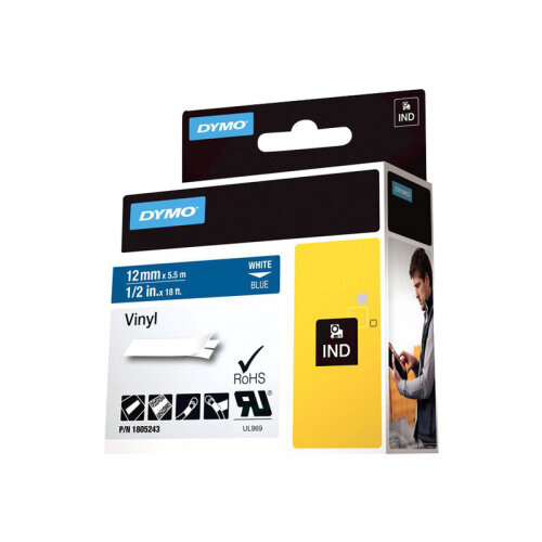 DYMO Rhino Coloured Vinyl - Vinyl - white on blue - Roll (1.2 cm x 5.5 m) 1 roll(s) tape - for DYMO ILP219; Rhino 1000, 4200, 5000, 5200, 6000; RhinoPRO 1000, 3000, 5000, 6000, 6500