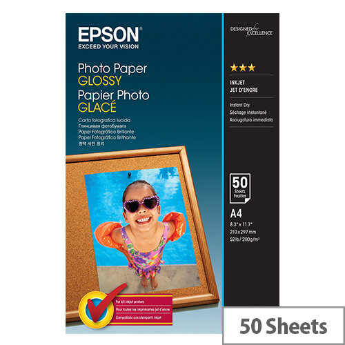 Epson - Glossy - A4 (210 x 297 mm) - 200 g/m² - 50 sheet(s) photo paper - for Expression Home HD XP-15000; Expression Photo HD XP-15000; WorkForce WF-7720