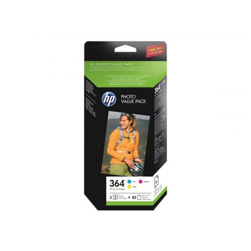 HP 364 Series Photo Value Pack - 3-pack - yellow, cyan, magenta - blister - print cartridge / paper kit - for Photosmart Premium Fax C410