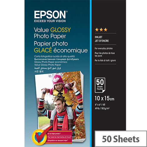 Epson Value - Glossy - 100 x 150 mm - 183 g/m² - 50 sheet(s) photo paper - for Epson L382, L386, L486; Expression Home HD XP-15000; Expression Premium XP-900