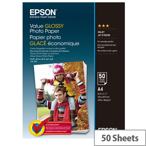 Epson Value - Glossy - A4 (210 x 297 mm) - 183 g/m² - 50 sheet(s) photo paper - for Epson L382, L386, L486; Expression Home HD XP-15000; Expression Premium XP-900