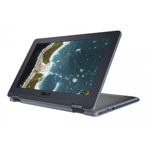 """ASUS Chromebook Flip C213NA BU0033 - Flip design - Celeron N3350 / 1.1 GHz - Chrome OS - 4 GB RAM - 32 GB eMMC - 11.6"""" touchscreen 1600 x 900 (HD+) - HD Graphics 500 - 802.11ac, Bluetooth - grey, dark grey"""