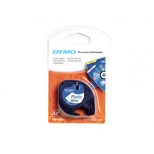 DYMO LetraTAG - Plastic - white - Roll (1.2 cm x 4 m) 1 roll(s) tape - for LetraTag LT-100H, LT-100T, QX50, XR