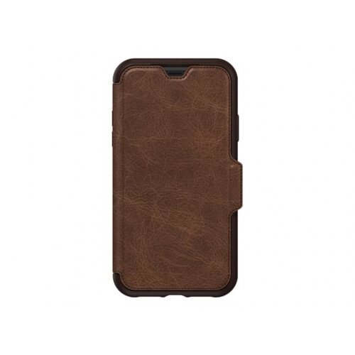 OtterBox Strada Series - Flip cover for mobile phone - leather, polycarbonate - espresso - for Apple iPhone XR