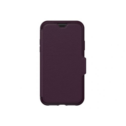 OtterBox Strada Series - Flip cover for mobile phone - leather, polycarbonate - royal blush - for Apple iPhone XR