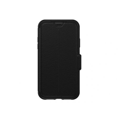 OtterBox Strada Series - Flip cover for mobile phone - leather, polycarbonate - shadow - for Apple iPhone XR