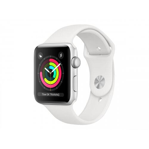 Apple Watch Series 3 (GPS) - 42 mm - silver aluminium - smart watch with sport band - fluoroelastomer - white - band size 140-210 mm - 8 GB - Wi-Fi, Bluetooth - 32.3 g