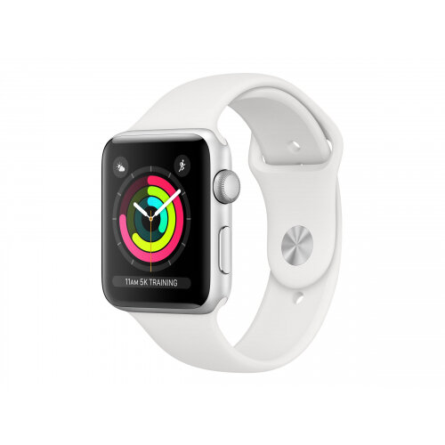 Apple Watch Series 3 (GPS + Cellular) - 38 mm - silver aluminium - smart watch with sport band - fluoroelastomer - white - band size 130-200 mm - 16 GB - Wi-Fi, Bluetooth - 4G - 28.7 g