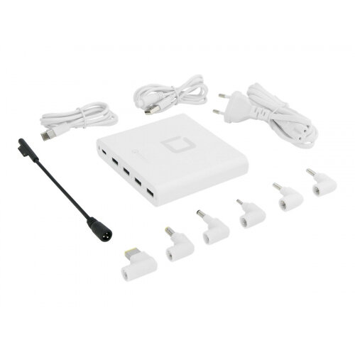DICOTA Universal Notebook Charger USB-C - Power adapter - 80 Watt - output connectors: 5 - white