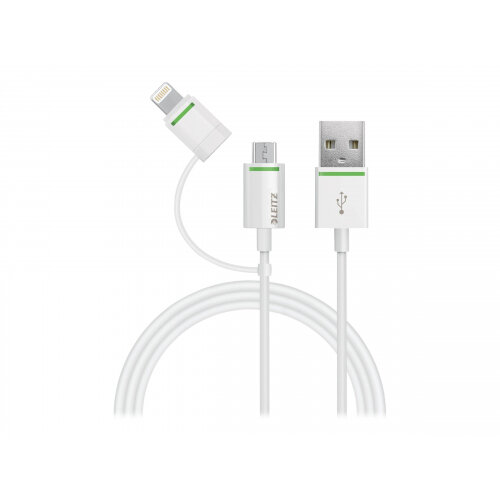 Leitz Complete - USB cable - Lightning/Micro-USB Type B (M) to USB (M) - USB 2.0 - 2.1 A - 1 m - white