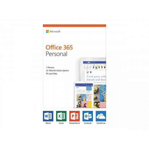 Microsoft Office 365 Personal - Box pack (1 year) - 1 person - medialess, P4 - Win, Mac, Android, iOS - English - Eurozone