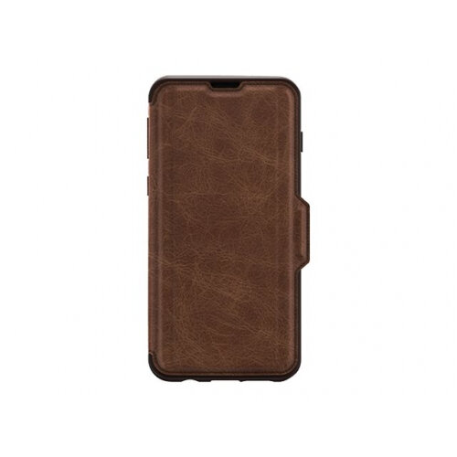 OtterBox Strada - Flip cover for mobile phone - leather, polycarbonate - espresso brown - for Samsung Galaxy S10