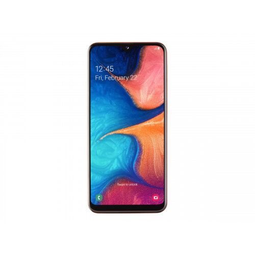 Samsung Galaxy A20e - Smartphone - dual-SIM - 4G LTE - 32 GB - microSDXC slot - GSM - 5.8&uot; - 1560 x 720 pixels (294 ppi) - PLS TFT - RAM 3 GB (8 MP front camera) - 2x rear cameras - Android - coral orange