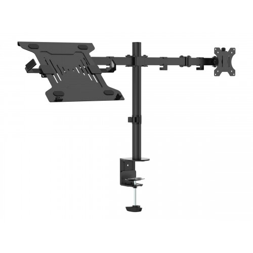 Vision VFM-DPD2B+S - Mounting kit (laptop shelf, 2 articulating arms, grommet base, 2 VESA adapters, 17.4&uot; post) for LCD display / notebook - steel - black - screen size: 13&uot;-27&uot; - desk-mountable