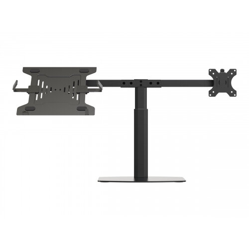 Vision VFM-DSDG+S - Mounting kit (desk stand, dual arm, 2 VESA adapters, notebook tray) for LCD display / notebook - aluminium, steel - black - screen size: up to 27&uot; - desktop