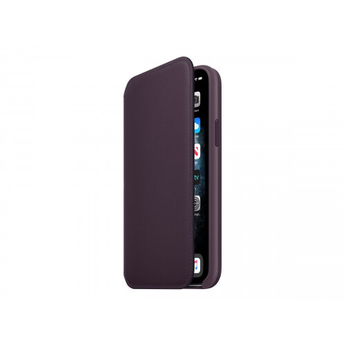 Apple Folio - Flip cover for mobile phone - leather - aubergine - for iPhone 11 Pro