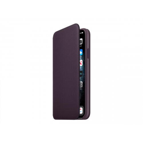 Apple Folio - Flip cover for mobile phone - leather - aubergine - for iPhone 11 Pro Max