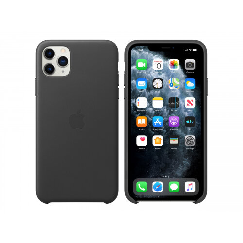 Apple - Back cover for mobile phone - leather, machined aluminium - black - for iPhone 11 Pro Max