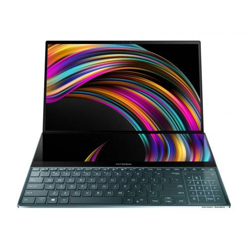 ASUS ZenBook Pro Duo UX581GV H2001T - Core i9 9980HK / 2.4 GHz - Win 10 Home 64-bit - 32 GB RAM - 1 TB SSD NVMe - 15.6&uot; OLED IPS touchscreen 3840 x 2160 (Ultra HD 4K) - GF RTX 2060 - 802.11ac, Bluetooth - celestial blue