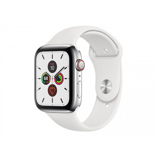 Apple Watch Series 5 (GPS + Cellular) - 44 mm - stainless steel - smart watch with sport band - fluoroelastomer - white - band size 140-210 mm - S/M/L - 32 GB - Wi-Fi, Bluetooth - 4G - 47.8 g