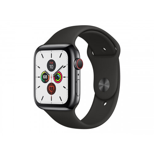 Apple Watch Series 5 (GPS + Cellular) - 44 mm - space black stainless steel - smart watch with sport band - fluoroelastomer - black - band size 140-210 mm - S/M/L - 32 GB - Wi-Fi, Bluetooth - 4G - 47.8 g