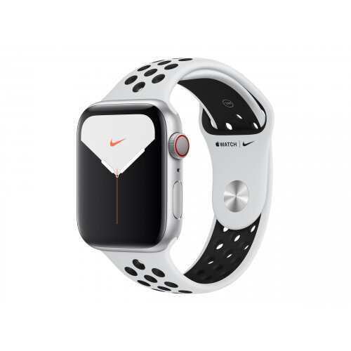 Apple Watch Nike Series 5 (GPS + Cellular) - 44 mm - silver aluminium - smart watch with Nike sport band - fluoroelastomer - pure platinum/black - band size 140-210 mm - S/M/L - 32 GB - Wi-Fi, Bluetooth - 4G - 36.5 g