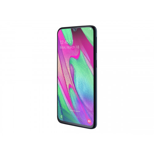 Samsung Galaxy A40 - Enterprise Edition - smartphone - dual-SIM - 4G LTE - 64 GB - microSD slot, - microSDXC slot - GSM - 5.9&uot; - 2340 x 1080 pixels (439 ppi) - Super AMOLED - RAM 4 GB (25 MP front camera) - 2x rear cameras - Android - black