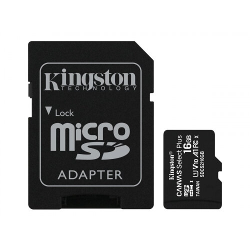 Kingston Canvas Select Plus - Flash memory card (microSDHC to SD adapter included) - 16 GB - A1 / Video Class V10 / UHS Class 1 / Class10 - microSDHC UHS-I