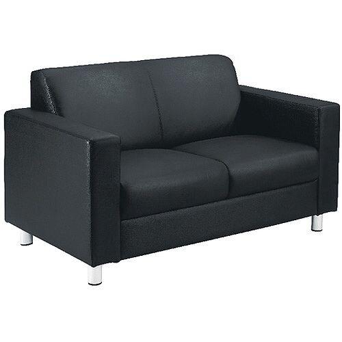 Avior Leather Faced Executive Reception 2 Seater Sofa Black KF03530