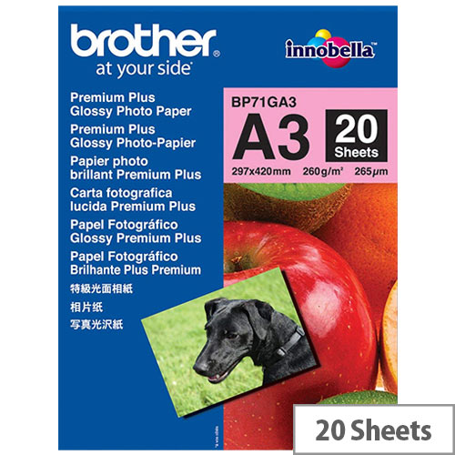 Brother A3 Glossy Premium Plus Photo Paper (Pack of 20)
