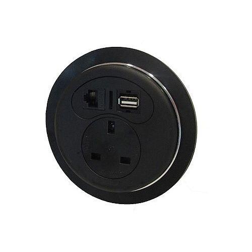 CMD Desk Black Desktop Porthole 1 x Power 1 x Data 1 x USB BDP-1P1D1U
